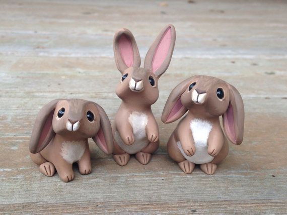 Rabbit Handmade miniature polymer clay animal by AnimalitoClay
