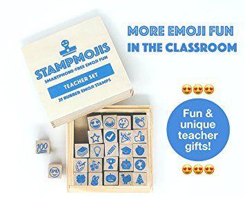 Amazon Teacher Stamps By Stampmojis 25 Pc Wood Rubber Emoji