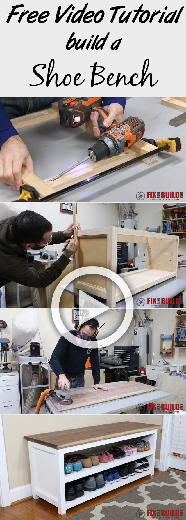 Learn how to build a DIY Shoe Storage Bench with this free video tutorial!