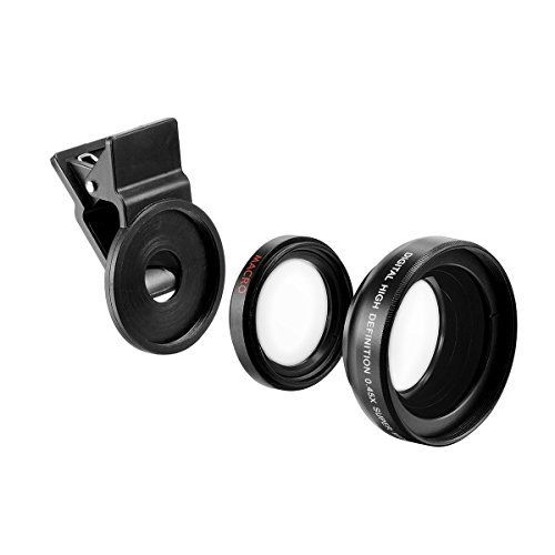 Bestoss Universal Professional HD Camera Lens Kit with 045X Super Wide Angle Lens  125X Macro Lens ClipOn Cell Phone Lens for iPhone 6s  6 Plus  5s Samsung  All Smartphonesblack ** BEST VALUE BUY on Amazon
