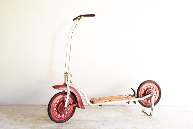 childs scooter, toy scooter, kid's scooter, antique scooter, metal & wood 2 wheel push scooter w/ amazing rustic character, vintage, antique by littlecows on Etsy https://www.etsy.com/listing/255227212/childs-scooter-toy-scooter-kids-scooter
