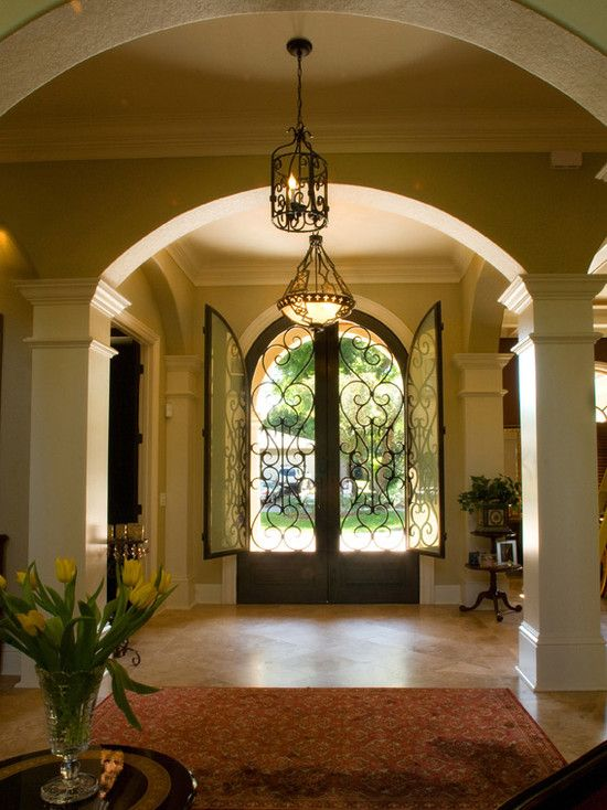 What A Gorgeous Entrance Hall Love The Wrought Iron Scroll Double Doors