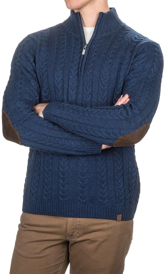 Neve Andrew Chunky Cable-Knit Sweater - Merino Wool, Zip Neck (For Men)