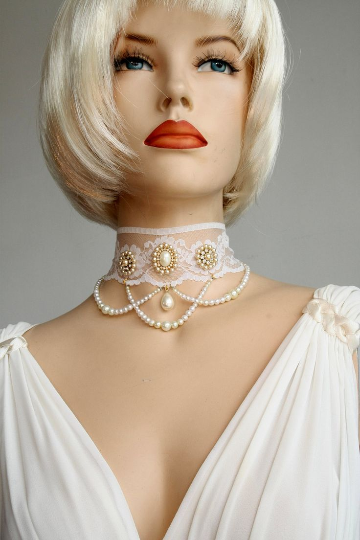 Bridal Choker  Lace And Pearls Rhinestone by mylittlebride on Etsy, $199.00