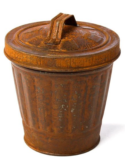 rusty garbage can