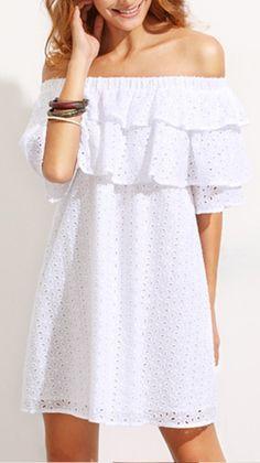 White Ruffle Off The Shoulder Shift Dress