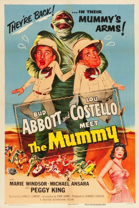 "A poster for ""Abbott and Costello Meet the Mummy."""