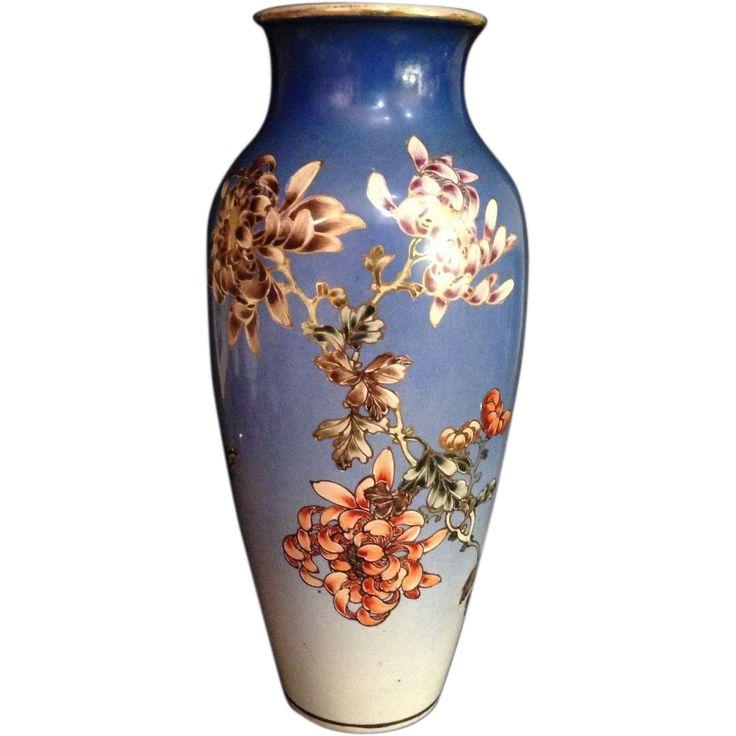 Tall Antique Kyo Yaki Kinkozan Vase Signed Large Ruby