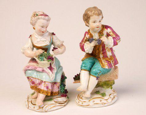 Pair of Meissen figures of vintners