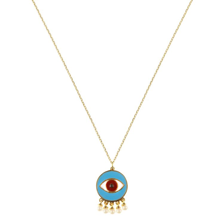 Moya necklace | $75. Fine chain necklace crafted in 9ct gold plating, with large evil evil pendant motif in sky blue, red and white enamel, and imitation pearl hanging detail. Shop now: http://www.savethelastpinker.com.au/shop/moya-necklace/