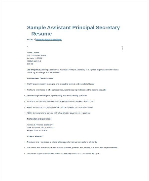 10+ Secretary Resume Templates Free Printable Word  PDF Best