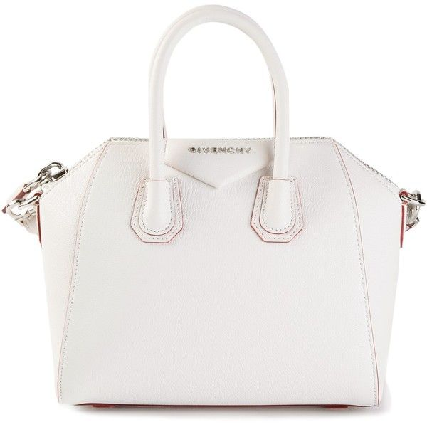 GIVENCHY small 'Antigona' tote (32.190 CZK) ❤ liked on Polyvore featuring bags, handbags, tote bags, purses, bolsas, givenchy, white handbags, zip top tote, white tote bag and givenchy purse