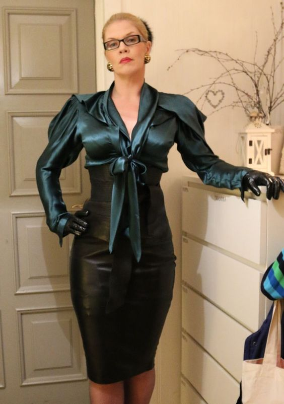 Mature Old Buisness Women In Satin Blouse 82