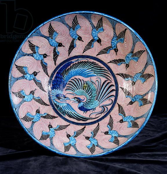 Deep punch bowl, with two eagles in the centre surrounded by swallows, painted by Fred Passenger (ceramic) (see also 267788) Creator M...