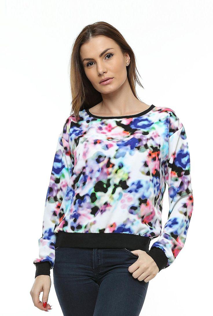 Bluza din vascoza cu imprimeu si garnitura neagra B54 de la Ama Fashion