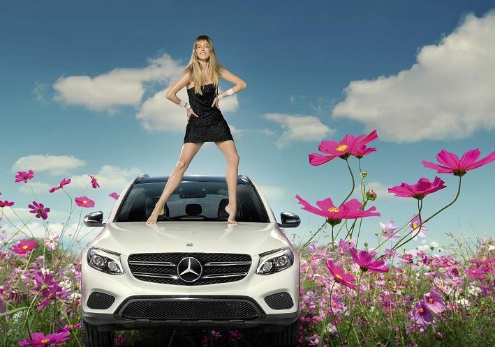 Doutzen Kroes for Mercedes-Benz Fashion Campaign on a GLC Hybrid