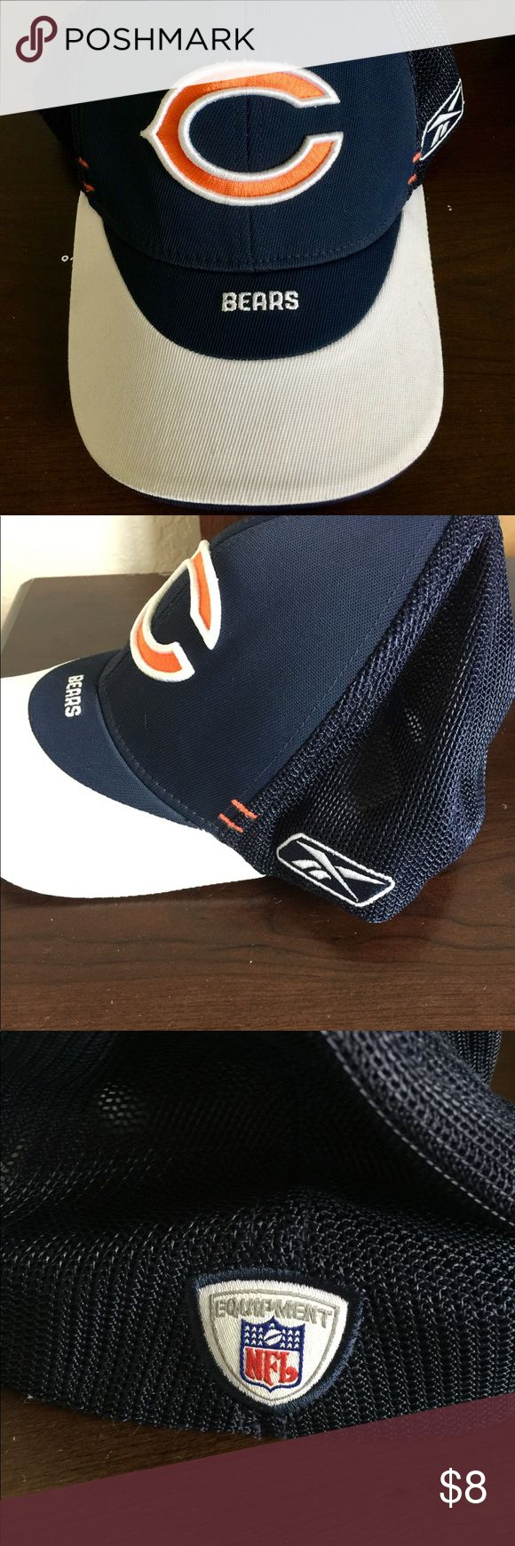 Chicago Bears stretchfit cap Used Chicago Bears stretchfit onesize cap. Nice hat, there is one stain under the bill( see last picture). When I took one of the stickers off it left that glue which never came off. Reebok Accessories Hats