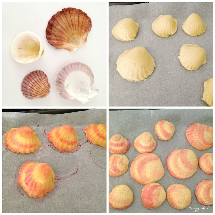 clam shell cookies -  lined shells with cling wrap and press cookie dough in