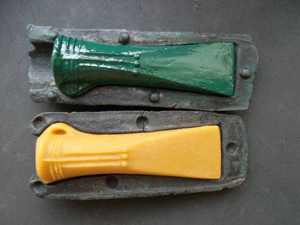 #Bronze #Age #Axe #Mould  Period from: BRONZE AGE    Date from: Circa 1100 BC  Date to: Circa 900 BC Primary material: Bronze Sizes: One Piece: 14.8sm length, width 5 cm, weight: 437.2 grams. Second part: length 14 cm width: 5.5sm weight: 374.7. Celt - 3.5 width, length 11 cm. ORIGINAL  Eastern Europe