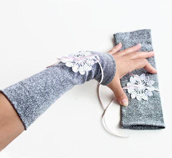 Arm Warmers, Retro argent Bridal Fingerless Gloves, formelle tissu main bonneterie lacet élastique, déco Glam mariage, conception Unique du soir