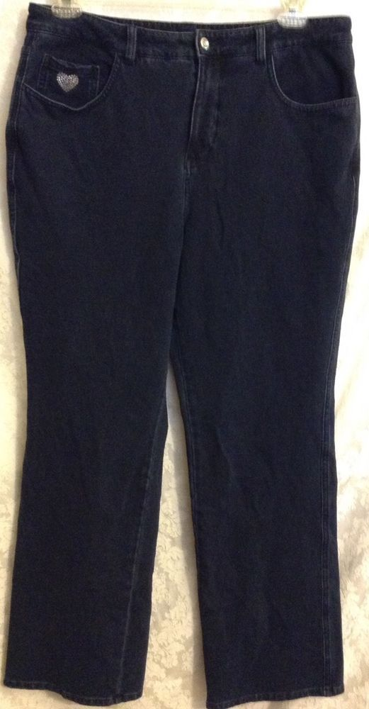 Dream Jeannes By Quacker Factory Womens Dark Indigo Blue Stretch Pants Size 14   Clothing, Shoes & Accessories, Women's Clothing, Jeans   eBay!