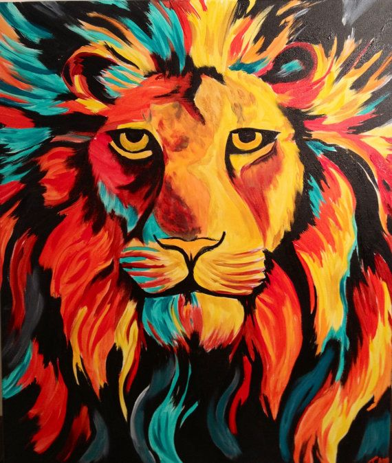 Colorful lion painting il pop for Abstract animal paintings