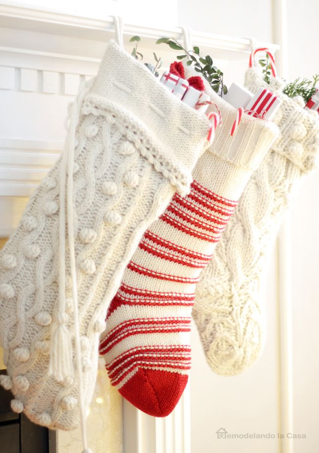 Cable Knit Sweater Christmas Stockings - Red and white decor - 3