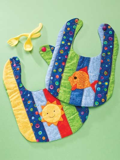 Sun & Fun Bibs Quilt Pattern Download from e-PatternsCentral.com -- These strip-pieced bibs make great gifts for baby showers.
