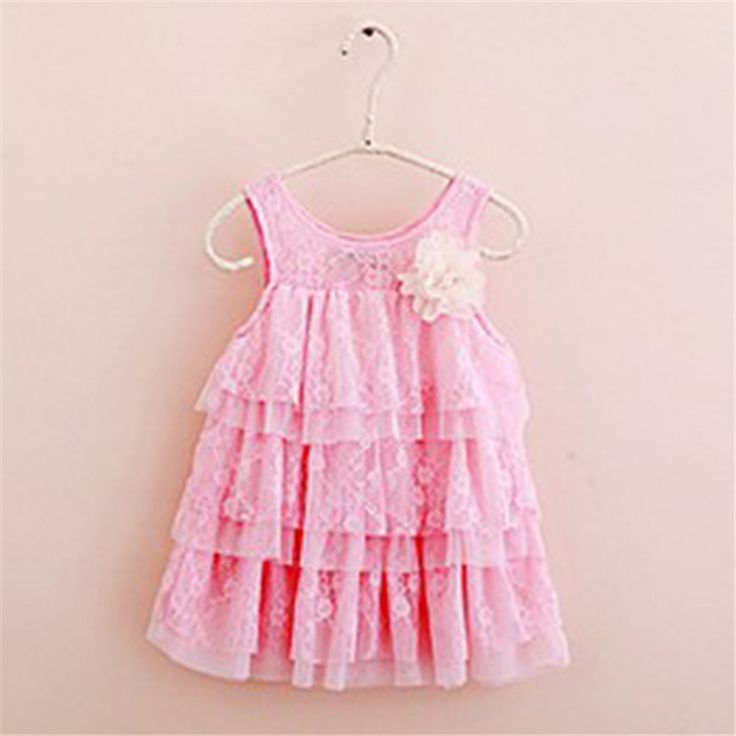 >> Click to Buy << Cute Kids Girls Princess Dresses Big Flower Lace Layers Toddlers Baby Strap Dresses Candy Color Lolita Style Sleeveless Dresses #Affiliate