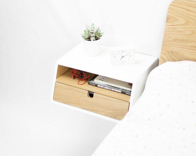 Floating White Nightstand Bedside Table Drawer Scandinavian