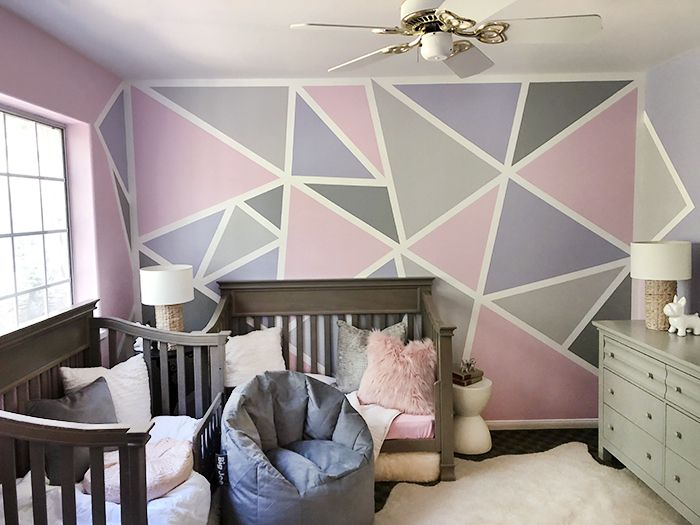 Home Decorating Ideas Kids Rooms Geometric Accent Feature Wall In Little Girl S Room Girls Room Paint Feature Wall Bedroom Girl Bedroom Walls