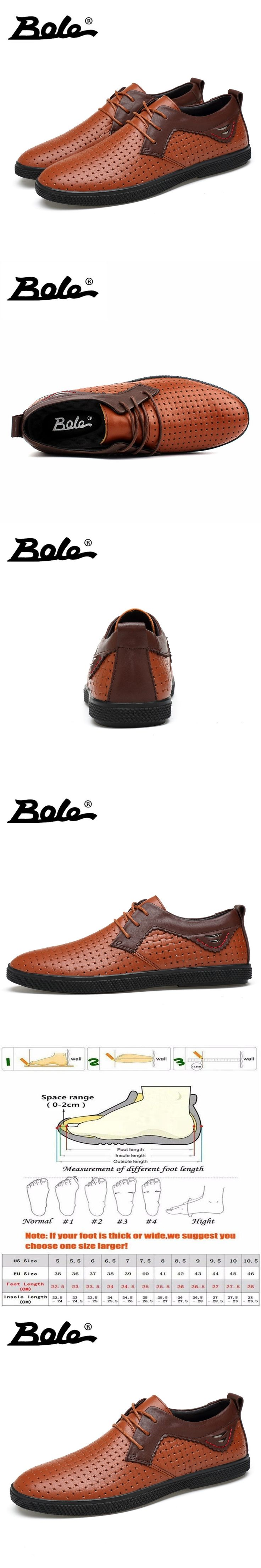 BOLE Summer New Punching Breathable Casual Shoes For Men Fashion Designer Handmade Genuine Leather Shoes Men Flats Driving Shoes