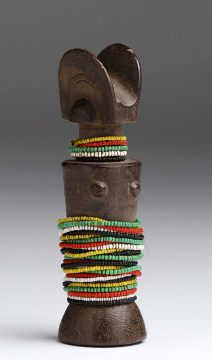 Africa | Doll from the Zaramo people of Tanzania | Wood and glass beads