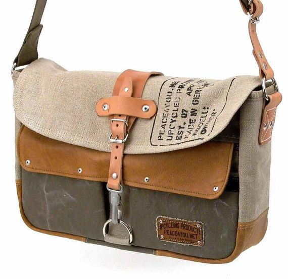 Canvas Leather Messenger Bag made from a Repurposed Military Canvas very heavy cotton/linen mix, which is about 50 years old and a used leather-jacket. Inside there are 2 useful slip-pockets with a olive waterproof Hi-Tech lining fabric. Outside there 3 pockets one with a zip ( under the flap ), the two small ones (left and right) got a velcro. Model paul-2037  * Dimensions: Please choose your size 15 Laptop: 9,8 H x 13,4 W x 5 D (25 cmH x 36 cmB x 13)  17 Laptop: 11,8 H x 15,5 W x 5 D (...