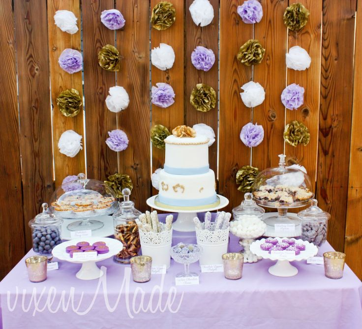 purple themed bridal shower%0A wedding tables with cakes and deserts baloons in lilac color  Google Search