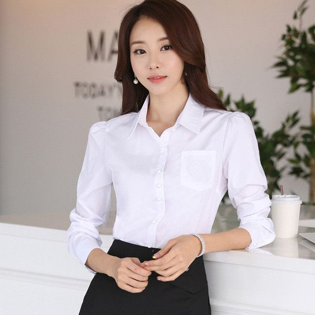 New career plus size XS-4XL long sleeve shirt women's OL fashion Pockets embroidery cotton blouse office ladies workwear tops