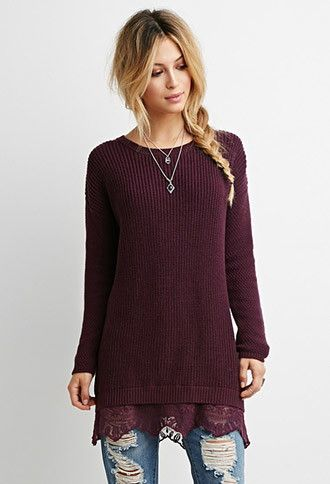 Lace-Hem Longline Sweater | Forever 21 - 2000172544