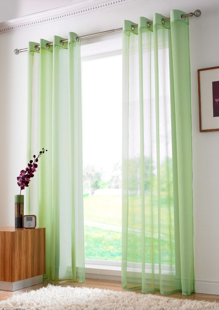 Plain Lime Green Sheer Voile Curtain Panel Finished With A Chrome Eyelet Heading