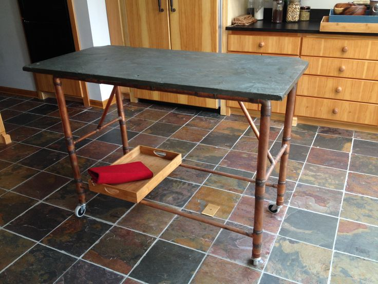 food preparation table fabricated from reclaimed copper pipe and pool table slate top - Slate Pool Table