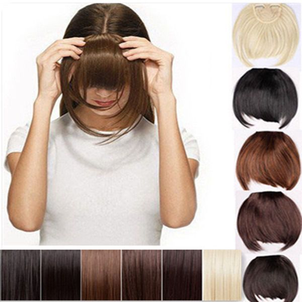 Pretty Girls Clip On Clip In Front Hair Bang Fringe Hair Extension Straight USA