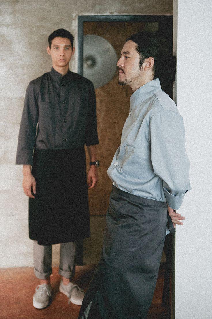 Working wear guoup - amont. Chef coat, chef uniform, barista uniform, restaurant, grey apron, chef pants, work wear