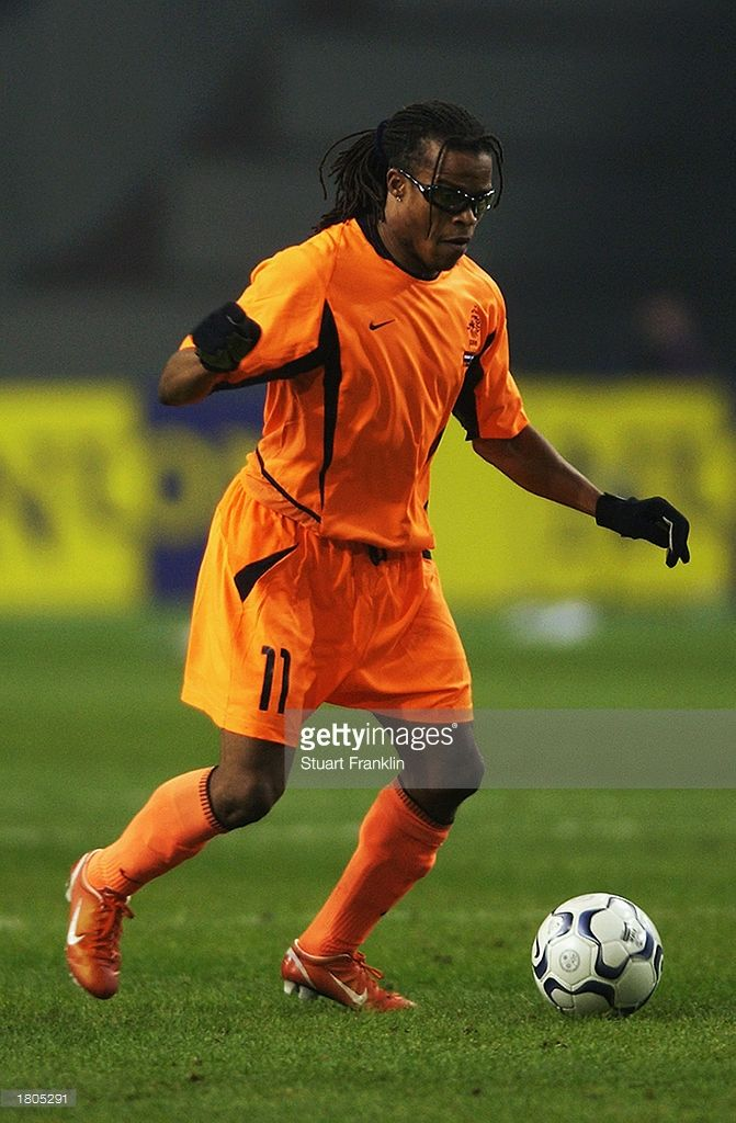 Edgar Davids of Holland with the ball at his feet during the International friendly match between Holland and Argentina held on February 12, 2003 at The Amsterdam Arena in Amsterdam, Holland. Holland won the match 1-0.