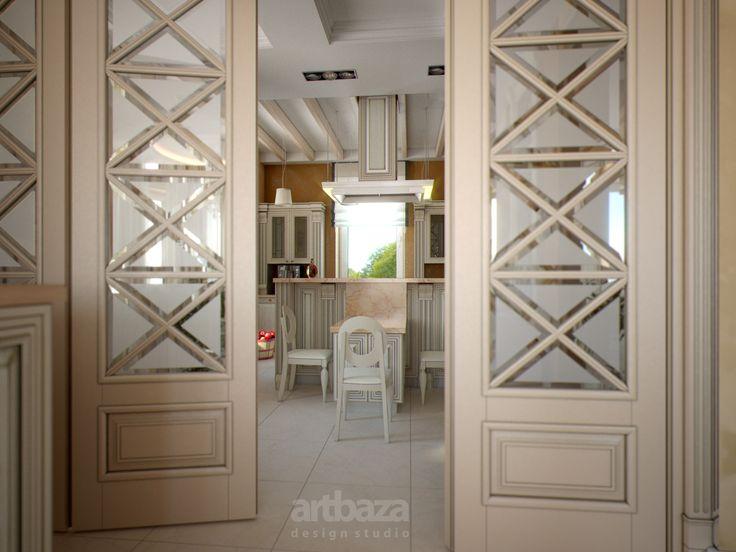 Дизайн интерьера кухни и столовой в загородном доме
