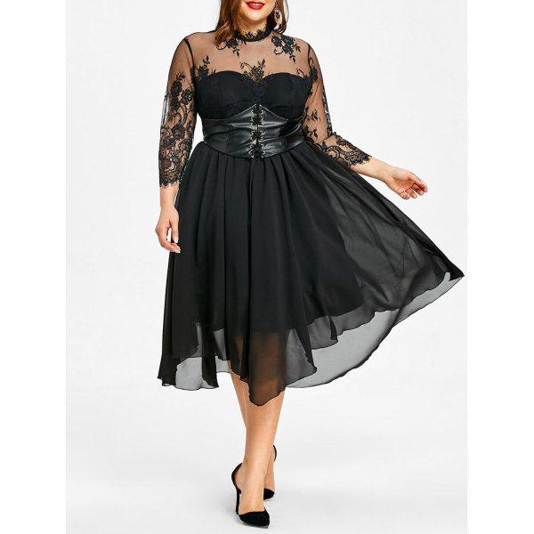Wholesale Plus Size Lace Panel Empire Waist Gothic Dress Xl Black Online. Cheap Plus Size Dress And Plus Size Christmas Dress on Rosewholesale.com