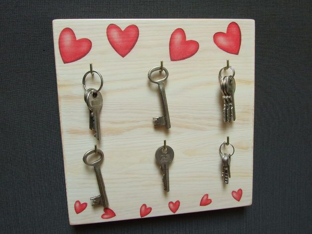 Coat Hooks – wooden wall hanger for the keys decoupage – a unique product by Artfolk on DaWanda