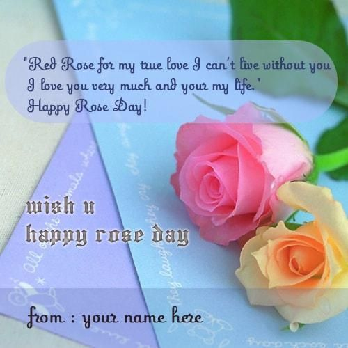 write name on happy rose day wishes quote with pink color rose. print name on pink color rose photos. beautiful pink rose wishes quotes pics. pink rose images with name editor set whatsapp dp