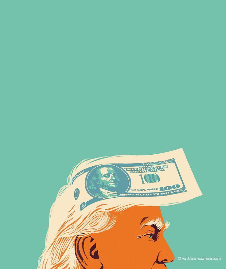 @Ivan Canu salzmanart.com client: die Zeit, cover Politik section: Who control and finance Trump? AD: Lara Huck #editorial #money #trump #politcs