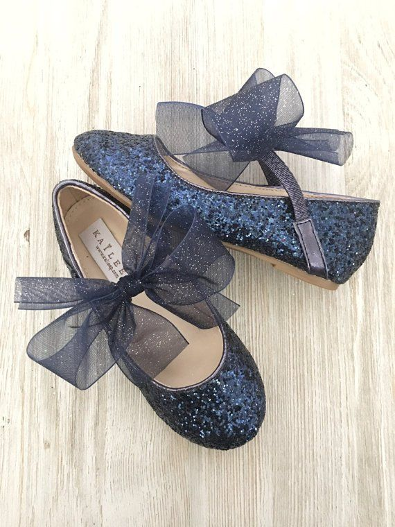 Girls shoes NAVY Rock Glitter Maryjane Flats With Chiffon Bow, Holiday Shoes, Wedding Shoes, Flower Girl Shoes