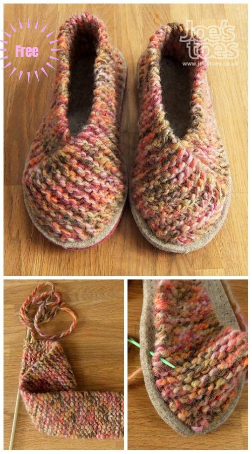 Einfache Garter Stitch Knit Crossover Hausschuhe Free Knitting Pattern   – scarpe uncinetto