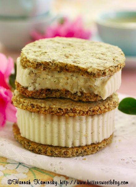 "Vanilla Bean ""Honey"" Ice Cream with Black Tea Graham Crackers (vegan)"